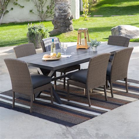 table patio furniture belham living ashera all weather wicker patio dining set