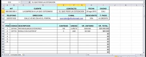 formatos de cotizacion formato de cotizacion office 2010 excel editable youtube