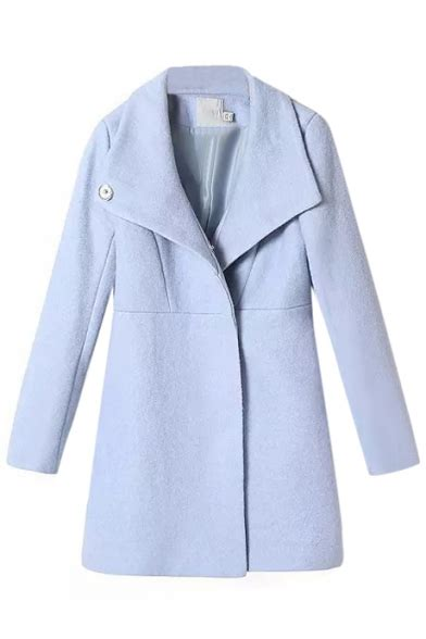 Light Blue Wool Coat by Concise Light Blue Buttoned Wool Coat With
