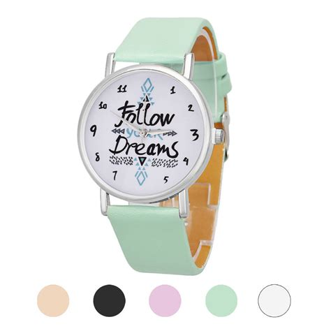 Pattern Words From Watch | women s watches casual watches leather follow dreams words