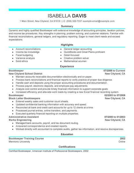 finance accounting resume sles best bookkeeper resume exle livecareer
