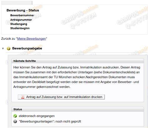 Bewerbung Hochschule Munchen Tumonline Bewerbung Dosv Tum