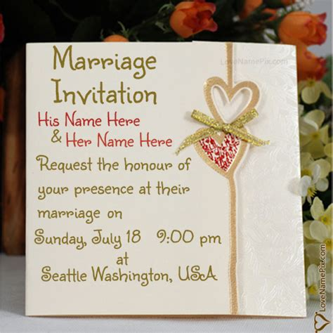 Wedding Invitation Card How To Write write name on marriage invitation cards designs picture