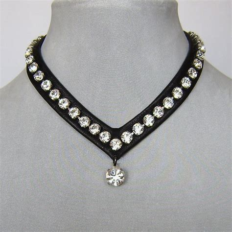 how to make high end jewelry swarovski rhinestones leather choker bold leather and