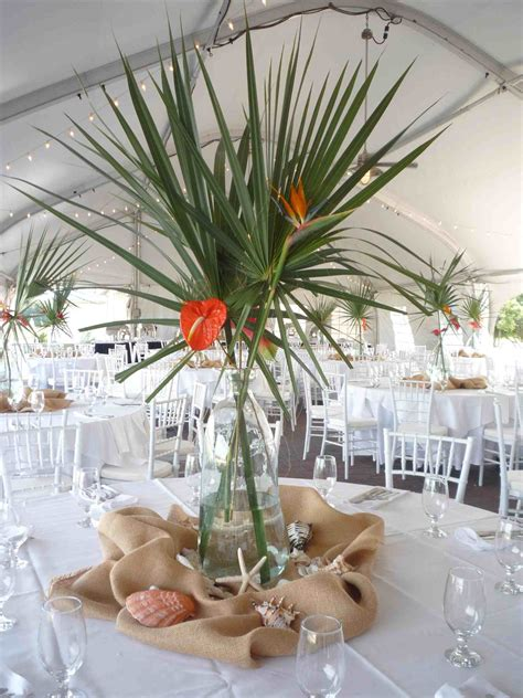 themed wedding centerpieces beach party table displays in