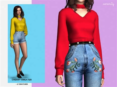 Sweater Cc the sims resource cherry sweater by serenity cc sims 4
