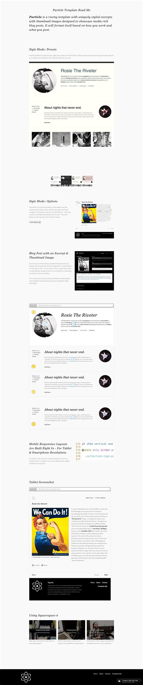 Particle Read Me Jpg Squarespace Personal Website Templates