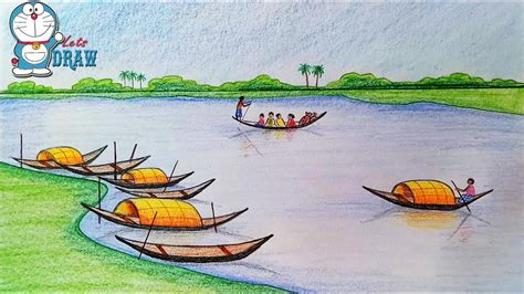how to draw a ferry boat easy how to draw scenery of ferry terminal kheya ghat youtube