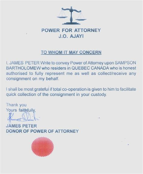 sample of special power attorney letter simple vision example 13 7