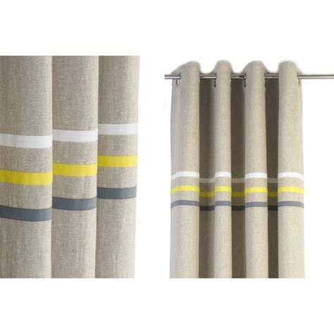 gray and yellow striped curtains made to measure nursery linen blackout
