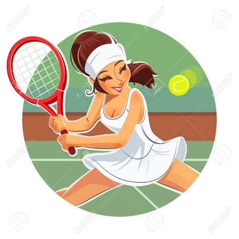tennis clipart beautiful play tennis eps vector illustration