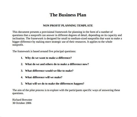 Free Non Profit Business Plan Template free nonprofit business plan template 2016 sanjonmotel