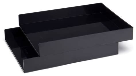 Black Desk Accessories by Letter Trays Set Of 2 Black Modern Desk Accessories