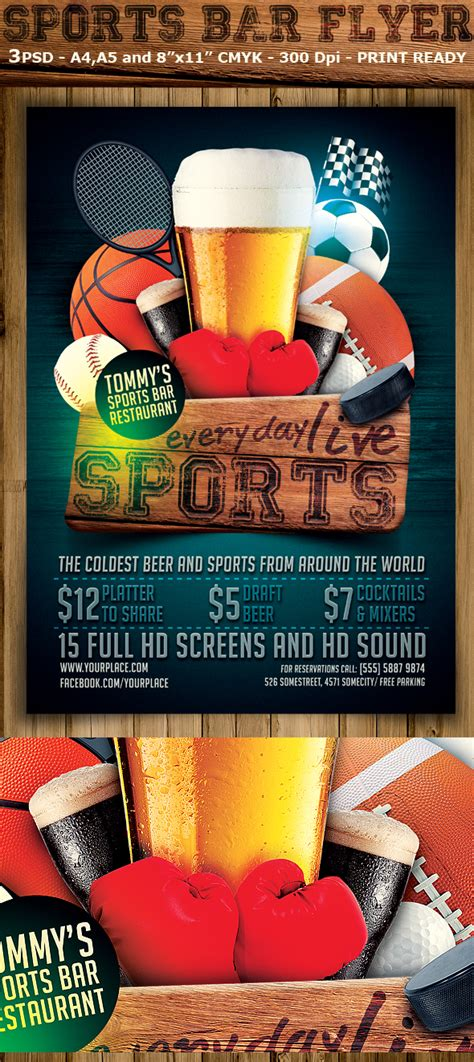 Sports Bar Flyer Template On Behance Bar Flyer Templates Free