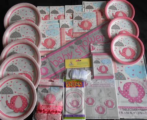 Baby Shower Decoration Kits Uk by Pink Umbrellaphants Baby Shower Supplies Tableware