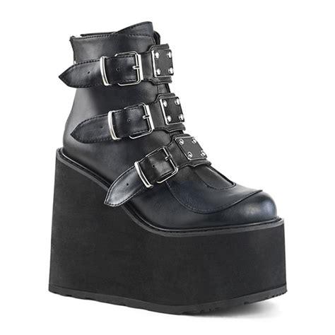 demonia swing boots demonia swing 105 black buckled gothic platform boots