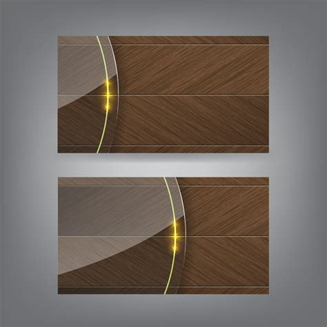 wood pattern business cards wooden business card with transparent glass vector 02