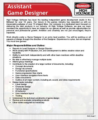 Game Design Description | 5 video game designer job description sles exles