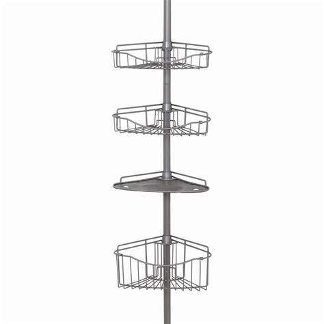 bathroom tension pole caddy zenna home tub and shower tension pole caddy with 3 shelf