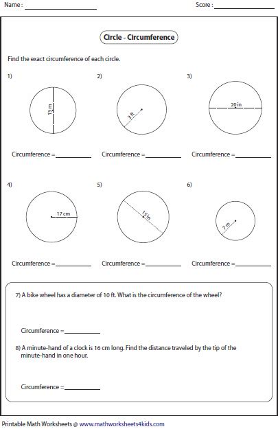 printable area of a circle worksheets circumference worksheet worksheets releaseboard free