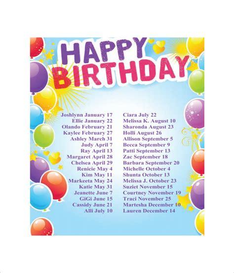 Birthday List Template