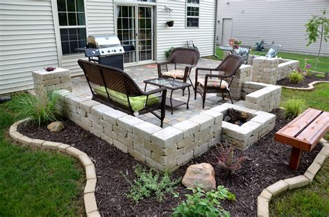 stone for backyard backyard patio pavers unilock paver patio firepit