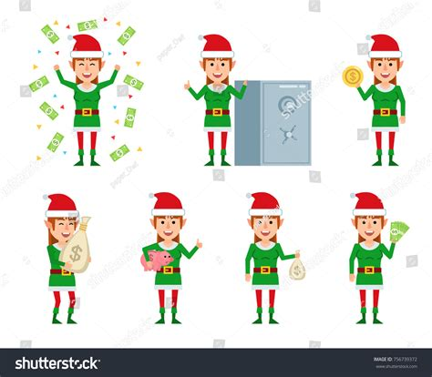 female christmas characters set characters posing stock vector 756739372