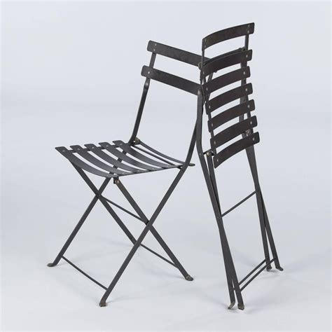 Folding Bistro Chairs Set Of Four Folding Bistro Metal Side Chairs By Fermob Late 1900s For Sale At 1stdibs