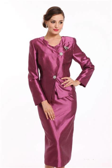 Wst 5903 2 Pcs Dress ladys 3pcs purple church suits suits buy church