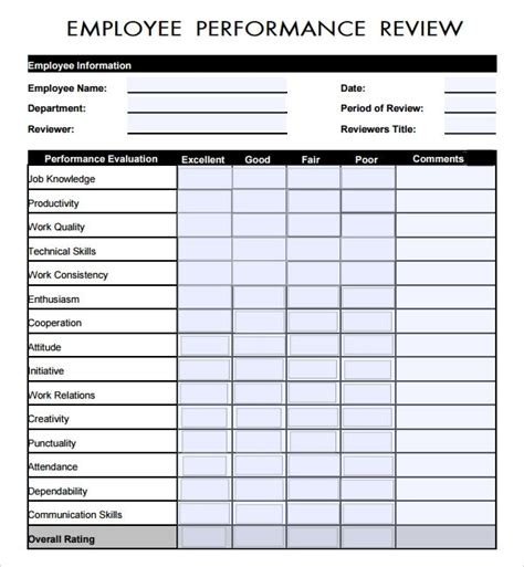 employee review template    documents