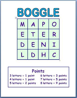 Boggle Printable