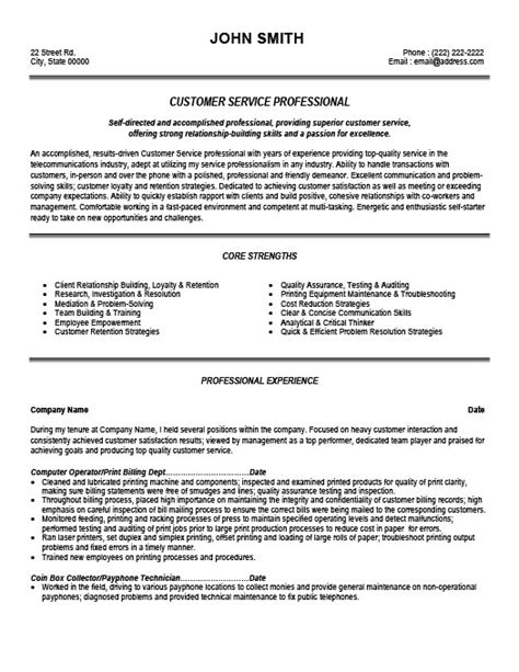 sle of professional resume for customer service customer service professional resume template premium