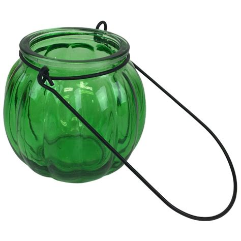 Hanging Glass Vases by Hanging Glass Ribbed Candle Vase 3 Quot Green