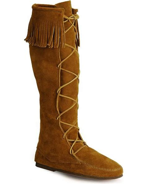 minnetonka lace up suede leather knee high boots sheplers