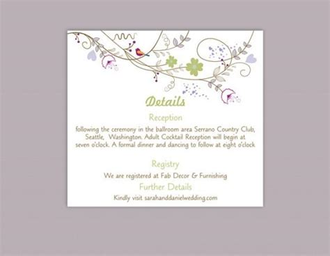 details cards of wedding template diy wedding details card template editable text word file