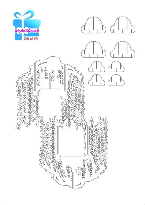 pattern kirigami house willow tree pop up card kirigami pattern 2 pop up i