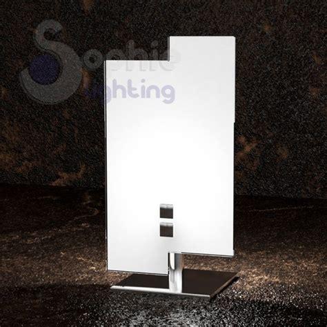 abat jour moderne da comodino lumetto abat jour moderno vetro bianco sfalsato acciaio