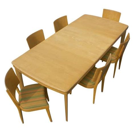 heywood wakefield rectangular dining table and six chairs