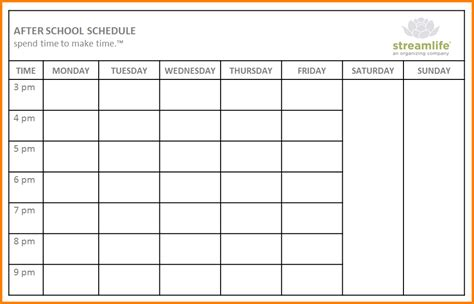 school schedule templates blank weekly class schedule