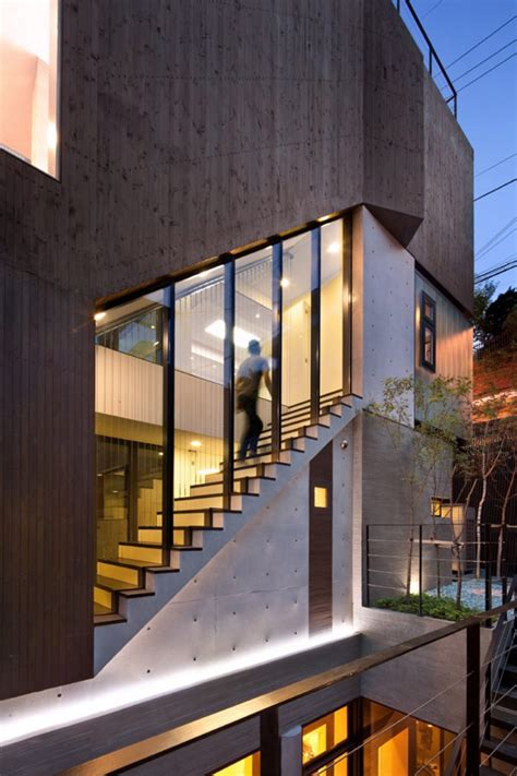 home design story stairs grey contemporary exterior design from a three story house