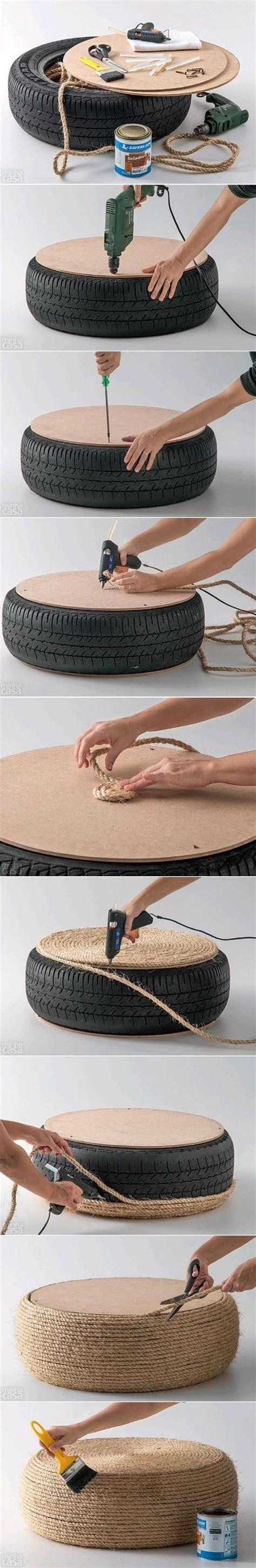 rope tire ottoman how to turn an old tire into a stylish nautical inspired