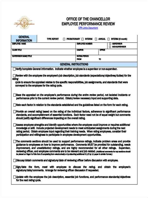 23 Performance Review Form Templates Office Performance Appraisal Template