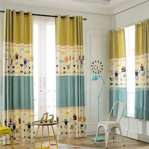Yellow And Blue Color Block Print Poly Cotton Blend Yellow Nursery Curtains