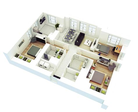 house three bedroom 3d floor plans home design