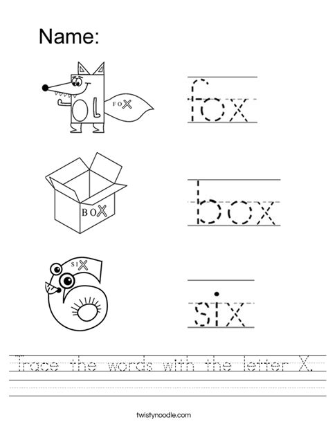 printable x worksheets trace the words with the letter x worksheet twisty noodle