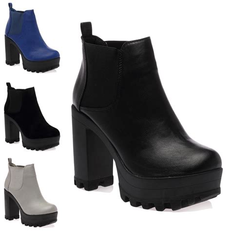 new womens cleated sole chelsey block heel ankle