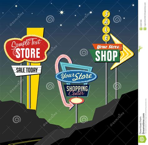 roadside marquee sign retro roadside neon signs 2 royalty free stock photo