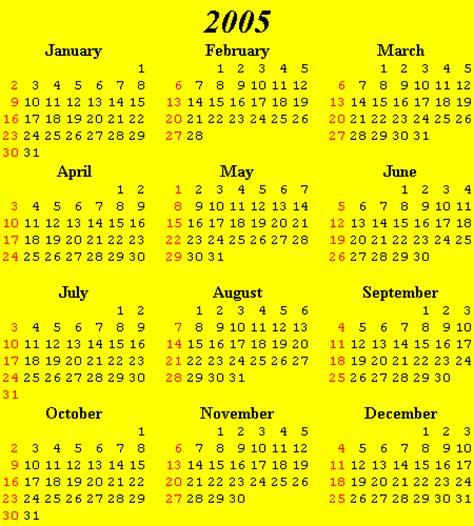 Calendar For 2005 Calendars 2000 2010