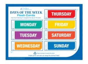 days of the week flash cards ichild