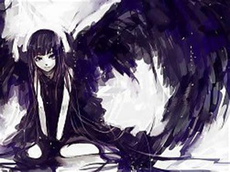 imagenes anime en blanco wings long hair monochrome sitting anime girls black hair